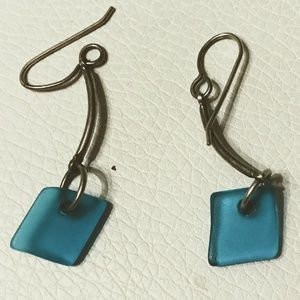 Bright Blue Sea Glass Earrings